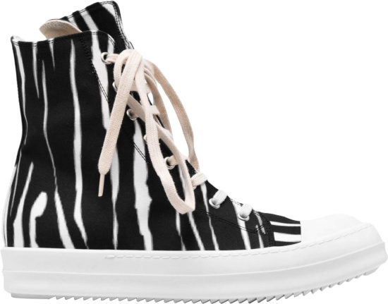 Rick Owens Black White Zebra Print High Top Sneakers