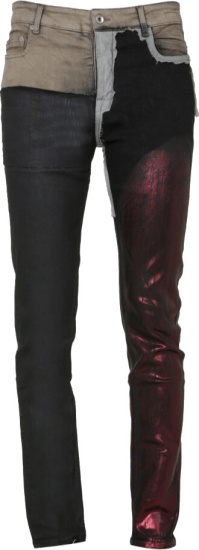 Rick Owens Coated Patchwork Combo Jeans