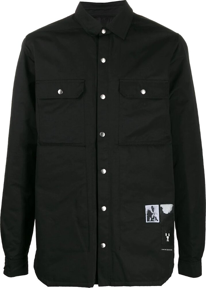 Rick Owens Darkshadow Photograph Patch Black Button Up Shirt Jacket