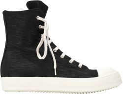 Rick Owens Drkshdw Black Denim High Top Sneakers