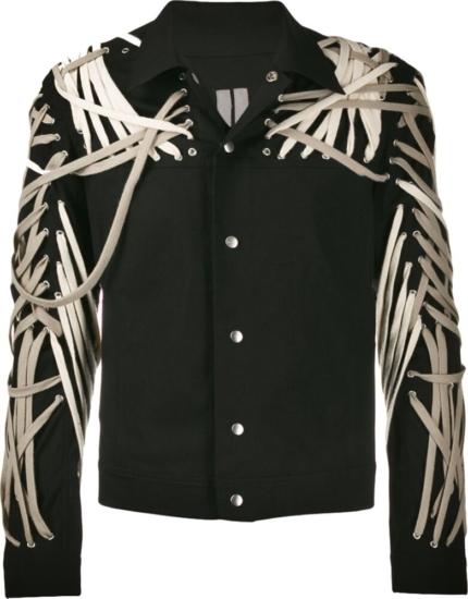 Rick Owens Lace Detail Black Denim Jacket