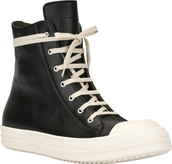 Rick Owens Leather High Top Sneakers