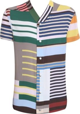 Rick Owens Multi Stripe Snap Front Shirt