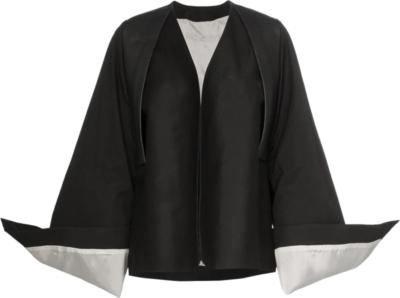Rick Owens Oversized Cuffs Black Kimono Shirt
