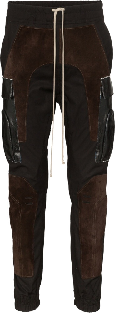 Rick Owens Suede Panel Leather Cargo Pants