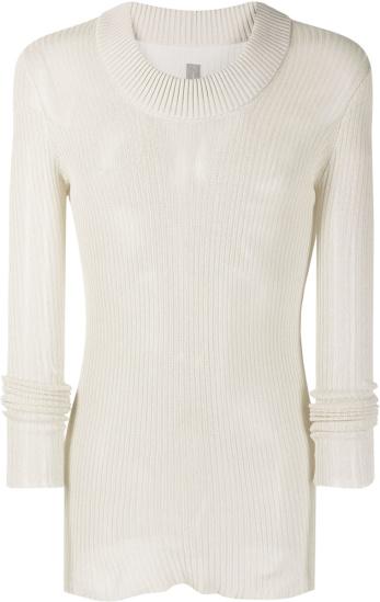 Rick Owens White Membrane Sweater