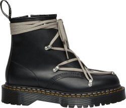 Rick Owens X Dr Martens Black Leather And White Lace Bex Boots