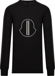 Rick Owens X Moncler Oversized Black Logo Long Sleeve T Shirt