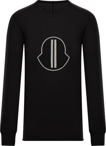 Rick Owens X Moncler Oversized Black Logo Long Sleeve T Shirt