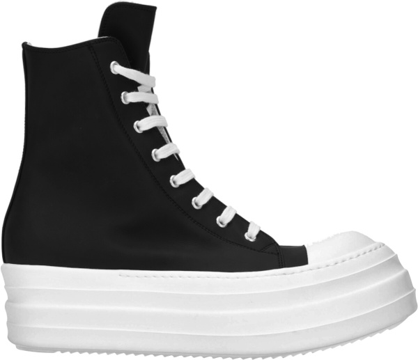 Rick Ownes Black Leather Double Bumper Sneakers