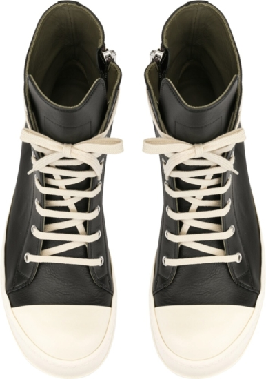 Rick Ownes Black Leather Sneaker Boots