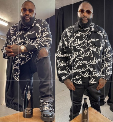 Rick Ross Wearing A Dolce Gabbana Allover Logo Shirt And Tee With Black Sneakers
