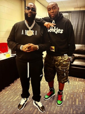 Rick Ross Wearing An Amiri Core Logo Hoodie And Sweatpants With Adidas X Y3 Sneakers
