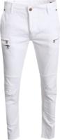 Multi-Zipper White Biker Jeans