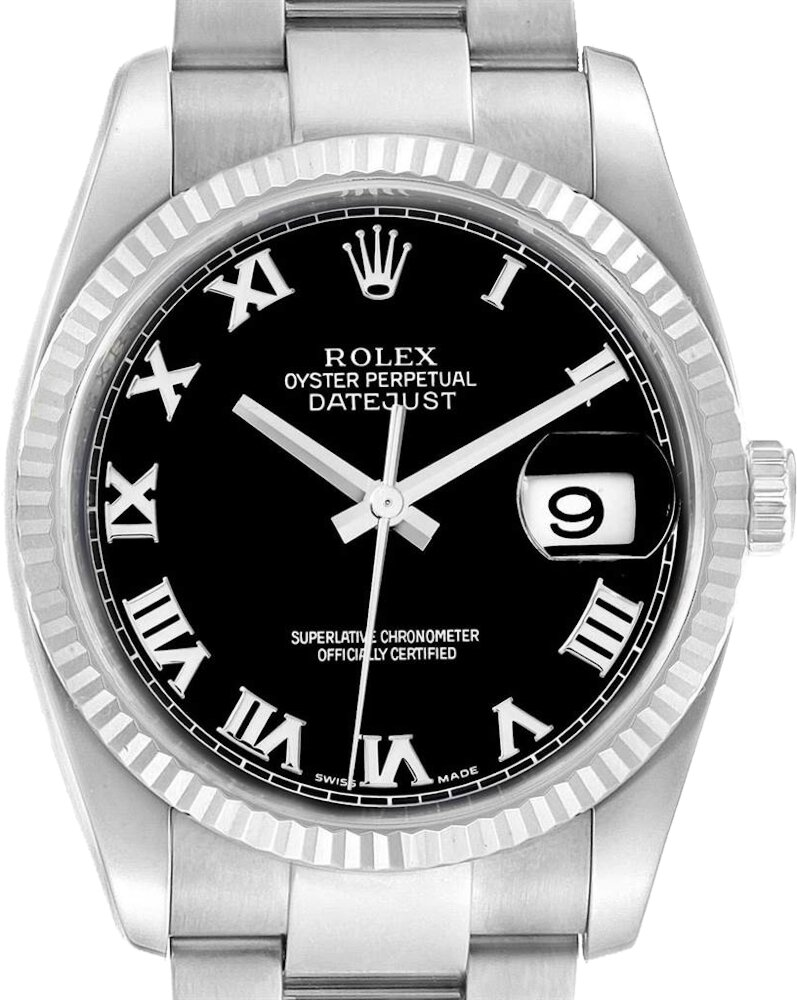 White Gold & Black-Dial 'Datejust' (116234)