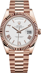 Rolex Everose Gold And White Dial M228235 0032 Day Date Watch