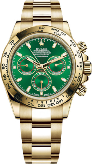 Rolex Green Face Gold Watch