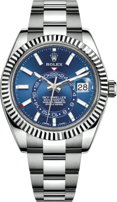 Rolex Oystersteel And Blue Face Sky Dweller