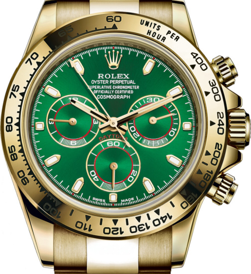 Roley Green Face Yellow Gold Cosomograph Watch