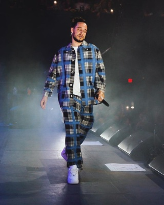 Russ Wearing A Marni Black Check And Blue Spray Grid Shirt And Pants With Nike Air Force 1 Low Top Sneakers