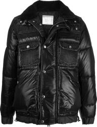 Black Denim-Panel Puffer Jacket