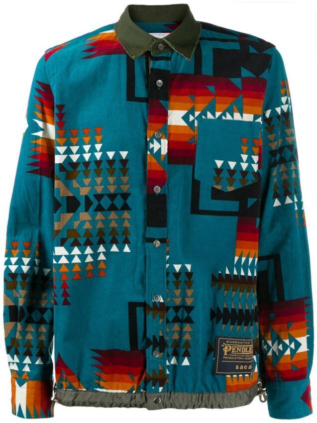 Sacai Blue Aztec Print Jacket