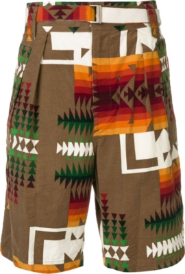 Sacai Brown Aztec Print Shorts