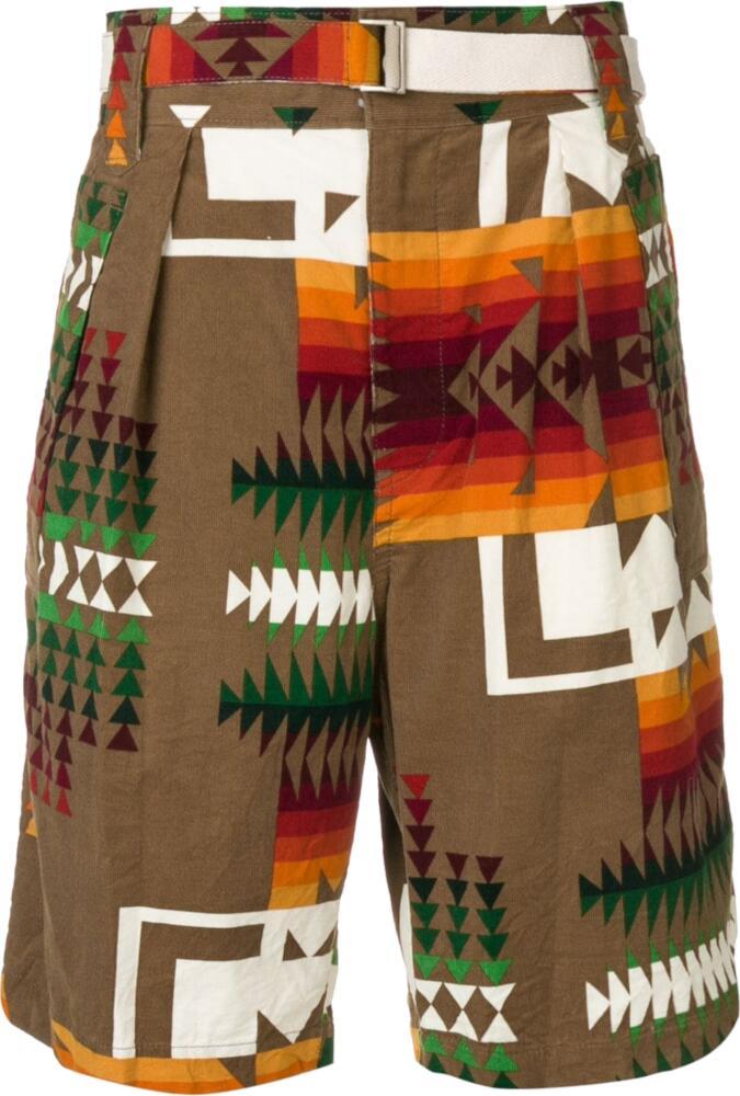 Sacai Brown Aztec Print Shorts