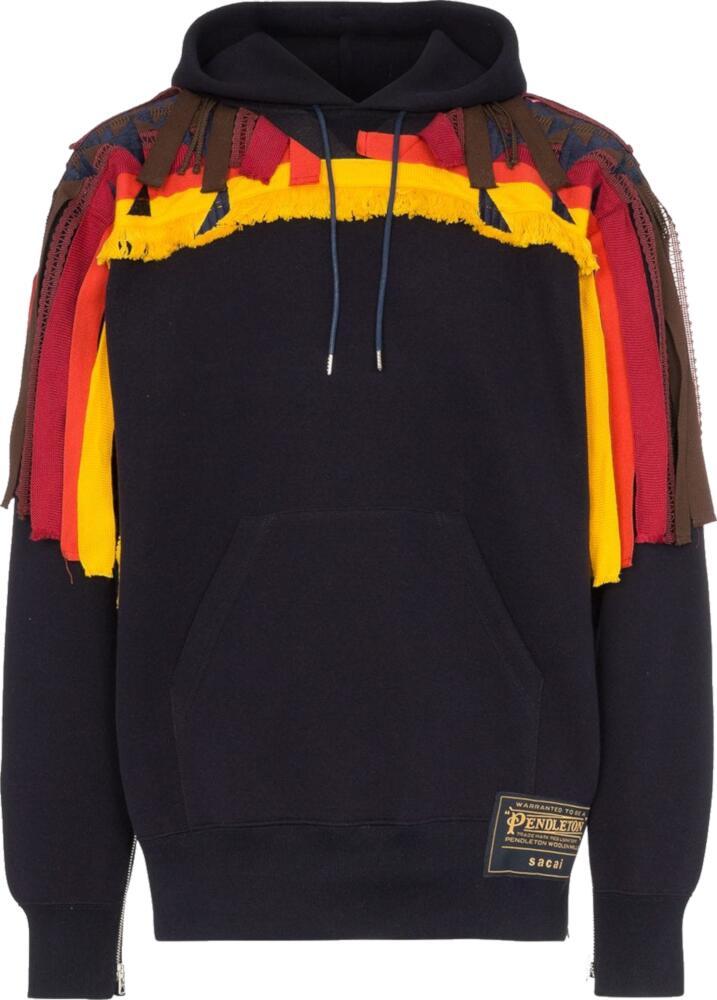 Sacai Multicolor Fringe Embellished Black Hoodie