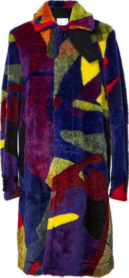 Sacai X Kaws Multicolor Colorblocked Faux Fur Coat