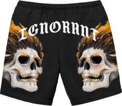 Saint Jhn Black Skull Flaming Sweatshorts