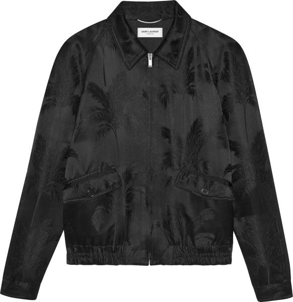 Saint Laurent Black Palm Tree Satin Jacket
