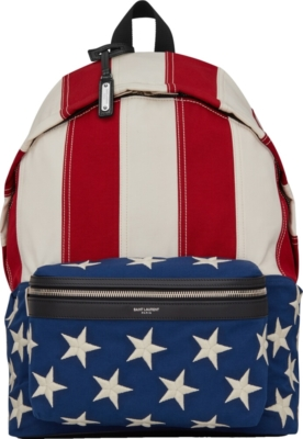 Saint Laurent American Flag Canvas Backpack