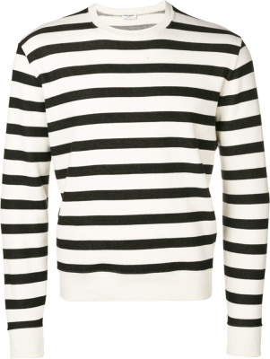 Saint Laurent Black And White Striped Sweatshirt