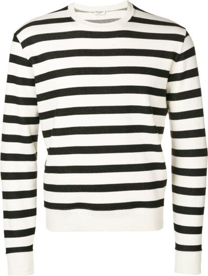 Saint Laurent Black And White Striped Sweatshirt