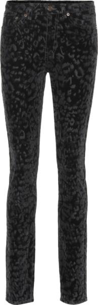 Saint Laurent Black Leopard Print Jeans