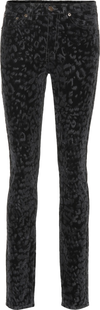 Saint Laurent Black Leopard Print Jeans