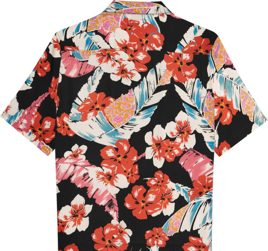 Saint Laurent Black Multicolor Hawaiian Shirt