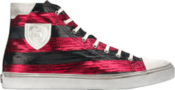 Saint Laurent Black Red Striped High Top Sneakers