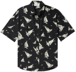 Saint Laurent Black Sail Boat Print Shirt