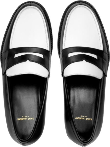 Saint Laurent Black White Penny Loafers
