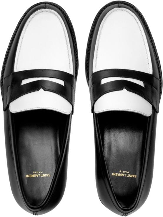 Saint Laurent Black White Penny Loafers