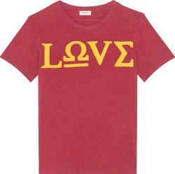 Saint Laurent Burgundy Love Greek Letter Patch T Shirt
