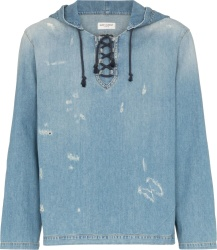 Distressed Blue Denim Lace-Up Hoodie