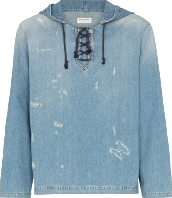 Saint Laurent Distressed Denim Hoodie