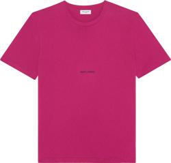 Saint Laurent Fuschsia And Small Heart Logo T Shirt