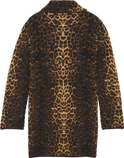 Saint Laurent Leopard Mohair Single Breasted Coat