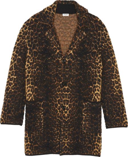 Saint Laurent Leopard Print Mohair Coat
