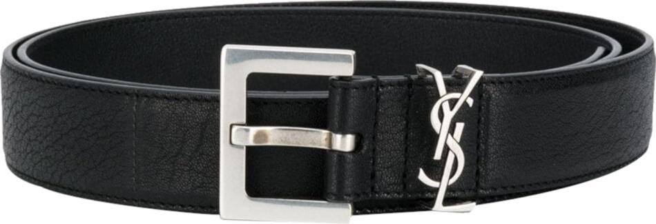 Saint Laurent Monogram Buckle Black Leather Belt