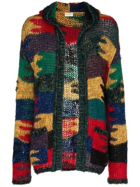Saint Laurent Multicolor Hooded Cardigan Sweater Worn By Big Krit In His Energy Music Video